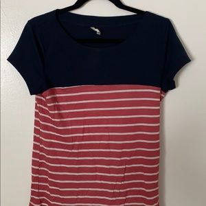 Striped blue and pink shirt